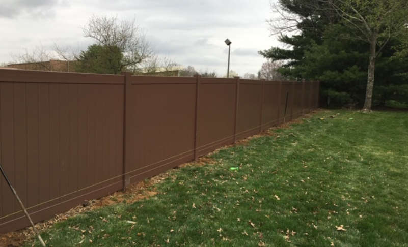 pvc vinyl fence Walnut colored solid tongue and groove ardmore pa 19003