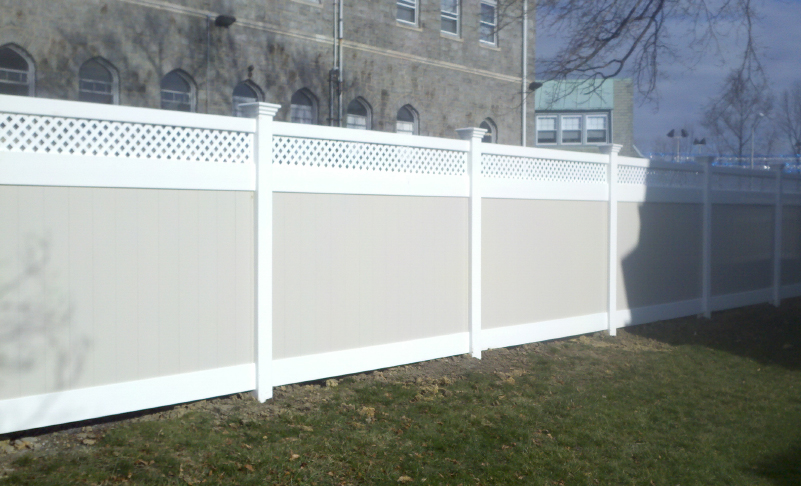pvc vinyl fence newport two toned with lattice ardmore pa 19003