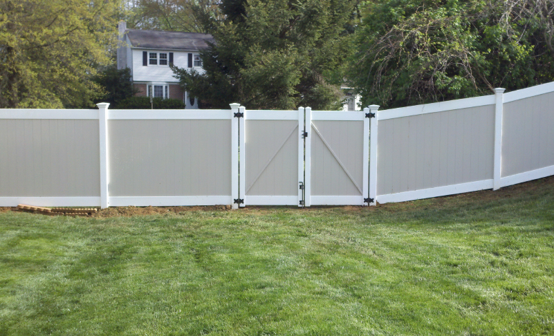 pvc vinyl fence newport two toned solid with privacy gate ardmore pa 19003