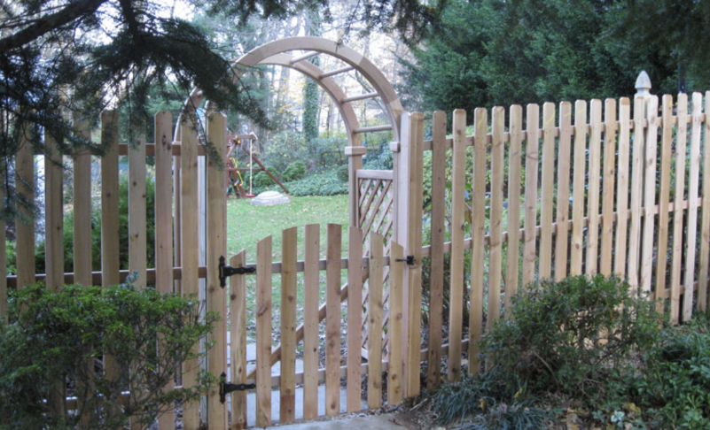 wood fence arc spaced picket with custom arbor Ardmore PA 19003